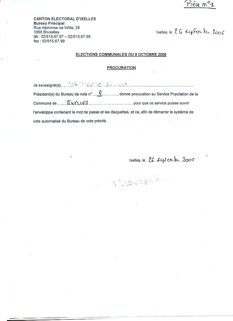 Ixelles : Procurations soumises aux présidents des bureaux ...